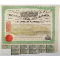 Plymouth, Kankakee and Pacific Railroad Co. 1871 I/C Bond Signed by J. Edgar Thompson & I.R. RN-W2.