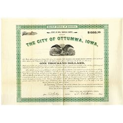 City of Ottumwa, Iowa 1893 Bond in aid of Chicago, Fort Madison & Des Moines Railway Co.