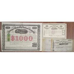 Dubuque & Sioux City Railroad Co., 1858 to 1879 Stock and Bond Trio The Bond with Imprinted RN's.