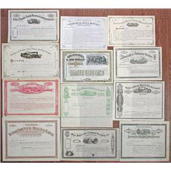 Iowa, Indiana, Michigan, Illinois, West Virginia Rail Road Group of 12 U/U Stock Certificates, ca.18