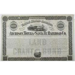 Atchison, Topeka and Santa Fe Railroad Co. 1870 Specimen Land Grant Bond Rarity.