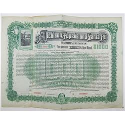 Atchison, Topeka and Santa Fe Railroad Co. 1889 Specimen Bond Rarity