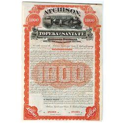 Atchison, Topeka and Santa Fe Railroad Co., 1889 Specimen Bond.
