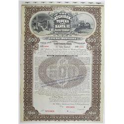 Atchison, Topeka and Santa Fe Railway Co. 1895 Specimen Bond