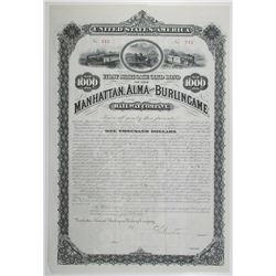 Manhattan, Alma and Burlingame Railway Co. 1880 Partially Issued Bond