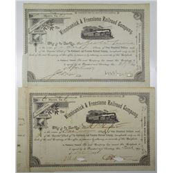 Kinniconick & Freestone Railroad Co., 1891 to 1897 I/C Stock Certificate Pair Including S/N 1.