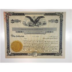 Lewisburg and Northern Railroad Co., 1918 I/C Stock Certificate