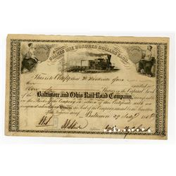 Baltimore and Ohio Rail Road Co., 1858 Stock Certificate Signed by John Hopkins as President.