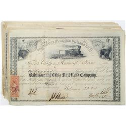 Baltimore and Ohio Rail-Road Co., 1860-1863 I/C Capital Stock Certificate Group