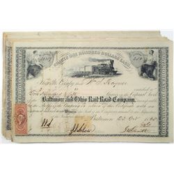 Baltimore & Ohio Rail-Road Co., 1861 to 1865 I/C Capital Stock Certificate Group of 30