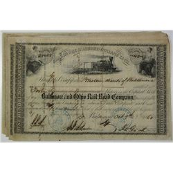 Baltimore and Ohio Rail-Road Co.. 1860's I/C Stock Certificate Group of 20