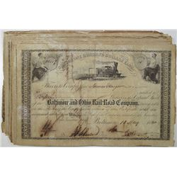Baltimore and Ohio Rail-Road Co., 1860 Dated Stock Certificate Group
