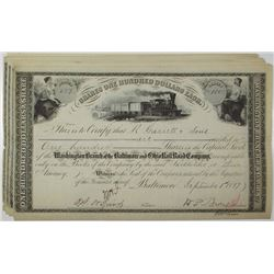 Washington Branch of the Baltimore and Ohio Rail Road Co. Stock Certificate Group of 8
