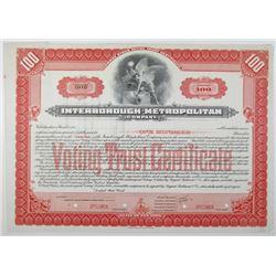 Interborough-Metropolitan Co., ca. 1904 to 1920 Specimen Stock Certificate