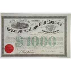 Lebanon Springs Rail Road Co. 1867 I/U Bond