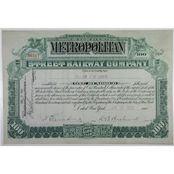 Metropolitan Street Railway Co., 1905 I/U Stock Certificate.