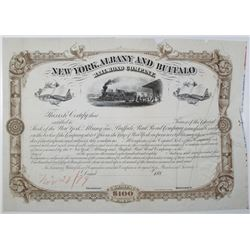 New York, Albany and Buffalo Railroad Co. 1879 Unique Approval Proof Stock Certificate
