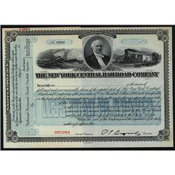 New York Central Railroad Co., 1900-20 Specimen Stock Certificate.