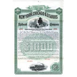 New York, Chicago & St. Louis Railroad Co. 1887 Specimen Bond