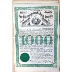 New York Underground Railway Co. 1890 I/U Bond