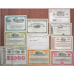 NY, NJ and CT Rail Road Stock and Bond Group of 10 Mostly I/C Stock Certificates, ca.1860-1929