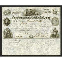 Cincinnati and Chicago Rail Road Co., 1855 I/U Stock Certificate.