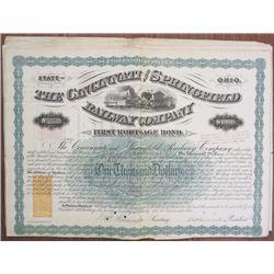 Cincinnati and Springfield Railway Co. 1871 I/C Railroad Bonds