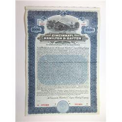 Cincinnati, Hamilton & Dayton Railway Co., 1909 Specimen Bond