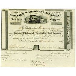 Cincinnati, Wilmington & Zanesville Rail Road Co., 1862 I/U Stock Certificate