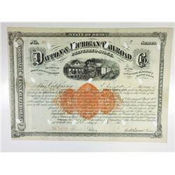 Dayton & Michigan Railroad Co. 1871 I/C Stock Certificate With Imprinted Revenue.