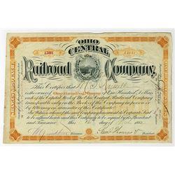 Ohio Central Railroad Co. 1882 I/U Stock Certificate