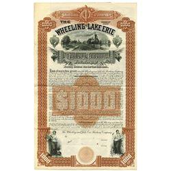 Wheeling and Lake Erie Railway Co. Wheeling Division, 1888 Possibly Unique Specimen Bond.