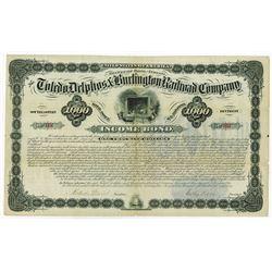 Toledo, Delphos & Burlington Railroad Co., 1881 I/U Bond