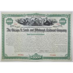 Chicago, St. Louis and Pittsburgh Railroad Co. 1883  Specimen Bond