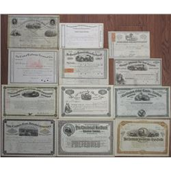 Ohio. Iowa. New York, Midwest Rail Road Stock and Bond Group of 12, ca.1855-1907
