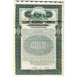 St. Louis, Oklahoma and Southern Railway Co., 1900 Specimen Bond Rarity