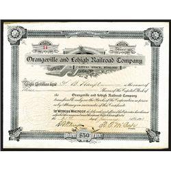 Orangeville & Lehigh Railroad Co. 1893 I/U Stock Certificate.