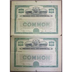 Pressed Steel Car Co. Inc., 1920-30's Uncut Pair of Proof Stock Certificates