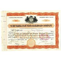 Schuylkill and Juniata Railroad Co. 1900 Stock Certificate