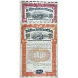 Pittsburg, Shawmut & Northern Railroad Co. 1902 Specimen Bond Pair.