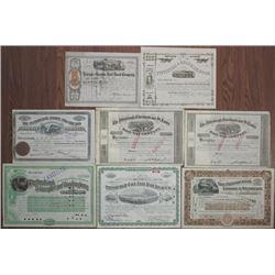 Pennsylvania, North Carolina & Ohio Railroads Stock Certificate Group of 8, ca. 1866 to 1939.