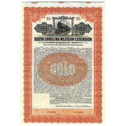 South Carolina Western Extension Railway 1913 Specimen Bond.