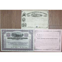 Southern Railroad Stock Certificate Trio, ca.1855 to 1913.