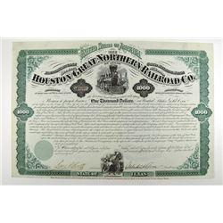 Houston & Great Northern Railroad Co., 1872 I/U Bond. Signed by Galusha Aaran Grow