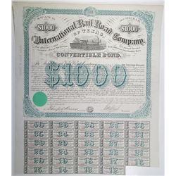 International Rail Road Company of Texas. 1875 I/U Coupon Bond Signed by Galusha Aaran Grow