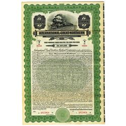 International-Great Northern Railroad Co. 1926 Specimen Bond