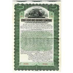 Utah Light and Railway Co. 1904 Specimen Bond