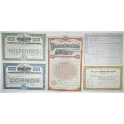 Railroad Stock Certificates and Bonds, ca.1852 to 1964, Group of 10 certificates.