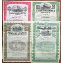 Atlantic Coast Line Railroad Co., 1902 to 1940 Specimen Bond Quartet.