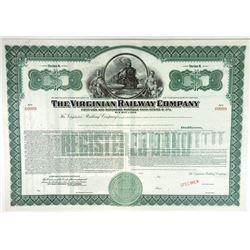 Virginian Railway Co 1947 SPECIMEN 3% Registered bond XF forest green